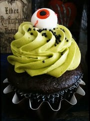 Lindsey Washburn, of Bada Bling Cupcakes, created this lime green, peanut butter, chocolate eyeball cupcake.