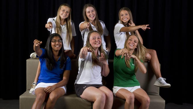 The 2015 All-Shore Girls Golf Team of (front row) Mehr Sawant, Ceilie Reynolds and Chrissie Wojciechowski; (back row) Arianna Palmeri, Nicole Totland and Brynne Wiedeman. Not pictured is Danielle Elia.