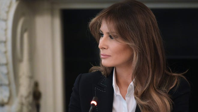 First lady Melania Trump at meeting on opioid abuse in the State Dining Room of the White House on Sept. 28, 2017.