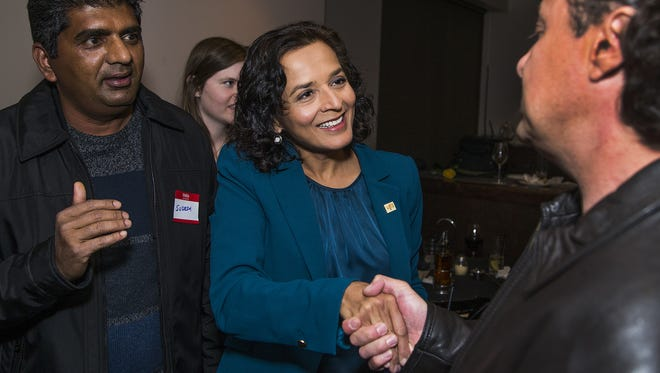 Democrat congressional candidate Hiral Tipirneni greets supporters at her campaign gathering at Bottega Pizzeria Ristorante in Glendale on Feb. 27, 2018.