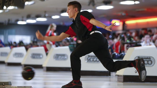 Seth Hanson of Fort Dodge competes in the Class 2A state bowling tournament Tuesday. Hanson came in third on the boys' side.