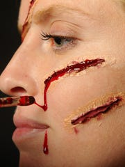 No Katy Clarke was harmed during this tutorial of a slasher victim Halloween look.
