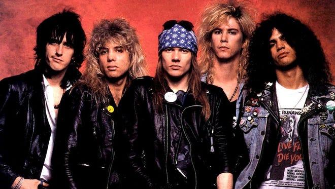 Guns 'n Roses, circa 1987.  From left: Izzy Stradlin, Steven Adler, Axl Rose, Duff McKagan, Slash.