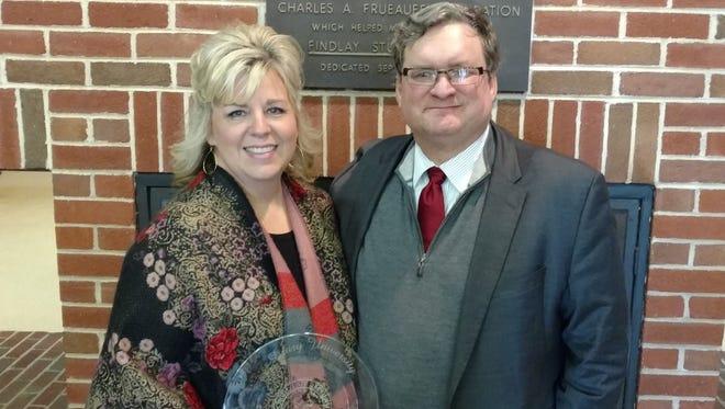 Ann Saunders with Drury University President Dr. Tim Cloyd.