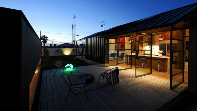 The patio of the modern-historic home remodeled by Joel Contreras.
