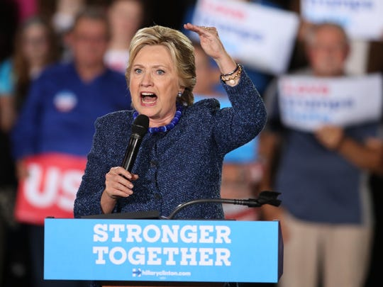 Democratic presidential candidate Hillary Clinton campaigns at Roosevelt High School in Des Moines, Iowa, Friday Oct 28, 2016.