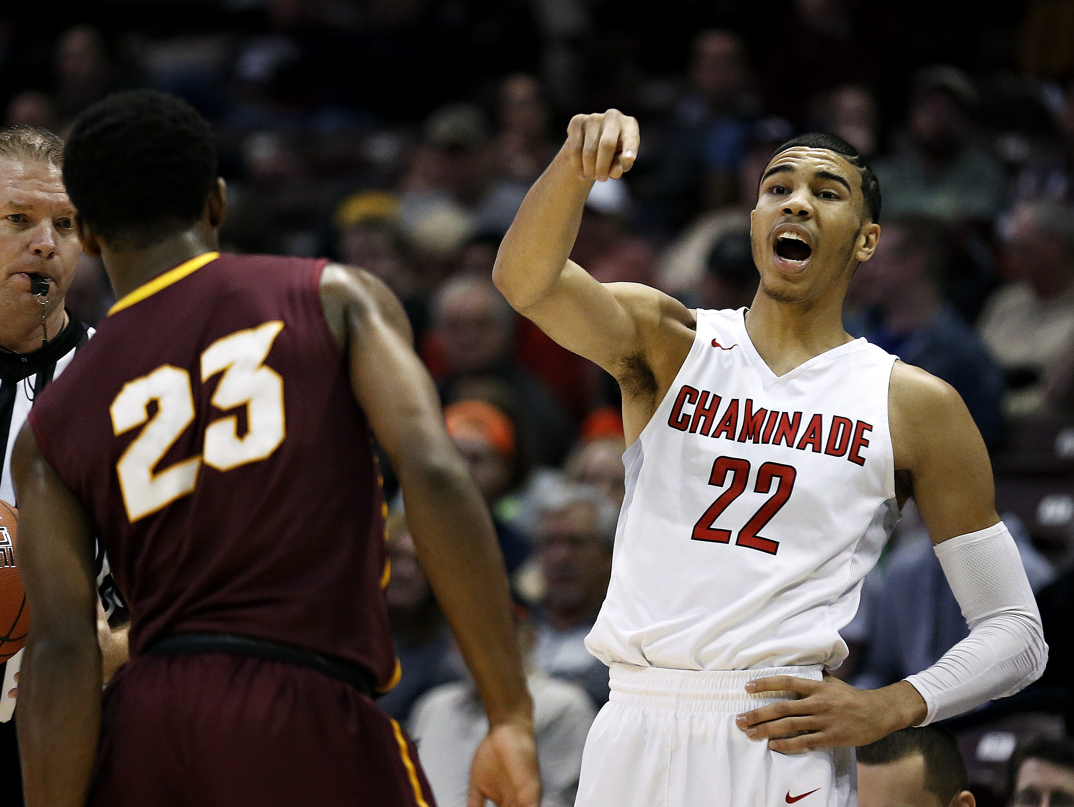 Chaminade College Preparatory School forward Jayson Tatum (22) yells out instructions to his teammates during first-quarter action of a 2016 Tournament of Champions game against Christ The King High School at JQH Arena.