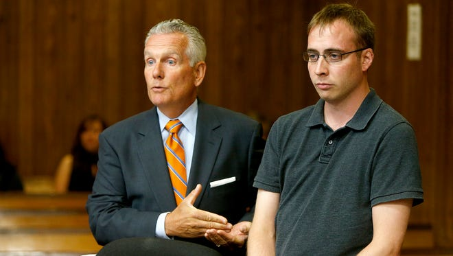 "Attorney Denis Driscoll (left) speaks about his client Edward G. Koloski during his sentencing hearing in State Superior Court in Paterson Thursday, June 23, 2016.   He had earlier pled guilty to vehicular homicide, leaving the scene of a crash that results in death, and dwi in the accident that kiiled Javan ""Jay"" Robinson in Rockaway Township on Feb. 23, 2014."