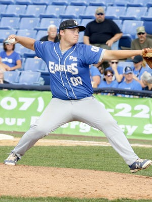 Luke Resti of Deposit/Hancock delivers a pitch in a Class D state semifinal against Brocton on June 8 at NYSEG Stadium in Elmira.