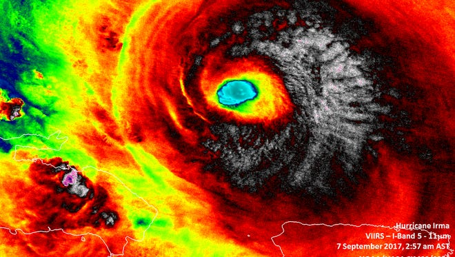 An infrared satellite image of the eye of Hurricane Irma as it passed north of Puerto Rico on Sept. 7, 2017.