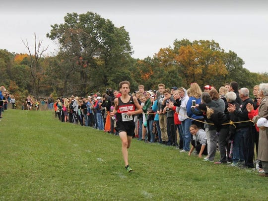 SPASH senior Johnny Hyland heads toward the finish line during a winning effort at the Panthers Invitational at Standing Rocks Park this season.