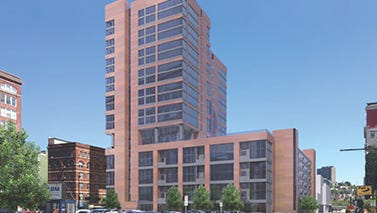 A rendering of the garage, apartments and retail space planned at Eighth and Sycamore streets in downtown Cincinnati.