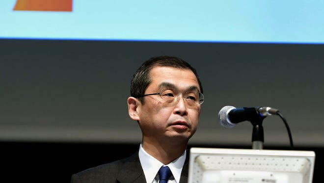 In this Nov. 4, 2015 file photo, Shigehisa Takada, president and CEO of Japanese parts supplier Takata Corp., attends a press conference in Tokyo.