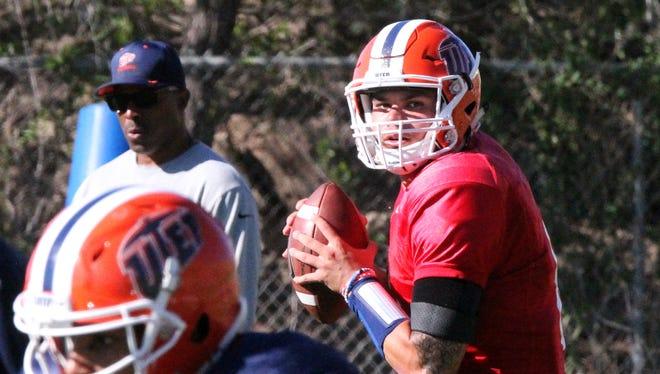 UTEP starting quarterback Zack Greenlee during a recent practice.