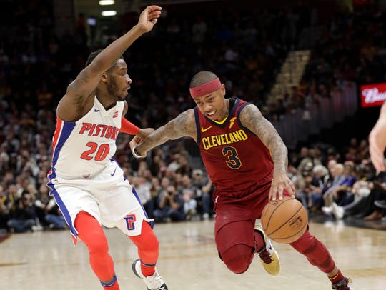 Cavaliers guard Isaiah Thomas (3) drives past Pistons