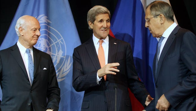 U.N. Special Envoy for Syria Staffan de Mistura, Secretary of State John Kerry and Russian Foreign Minister Sergey Lavrov in Vienna on Nov. 14, 2015.