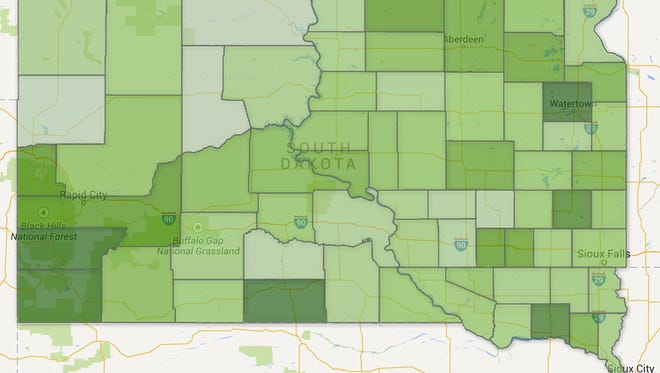 A map of early voting rates by South Dakota county as of Oct. 28, 2014. Darker colors reflect higher voting rates as a percentage of registered voters.