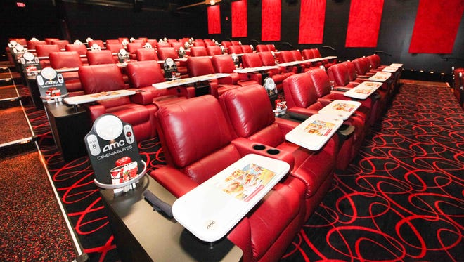 This is one of three Cinema Suites for adults only, where the seats fully recline at AMC Painter's Crossing 9 in West Chester, Pennsylvania.