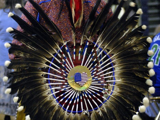 Detail of some of the Native American regalia at the