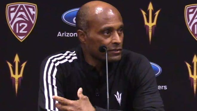 Arizona State Vice President of University Athletics Ray Anderson addresses the media on Sunday, Nov. 26, 2017, hours after firing Todd Graham.