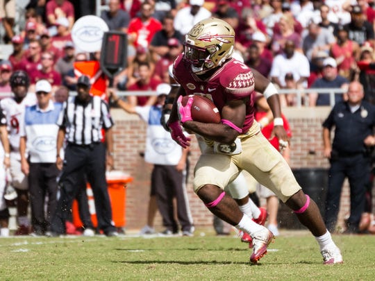 Florida State freshman running back Cam Akers accumulated 75 rushing yards during the Seminoles 31-28 loss to Louisville at Doak Campbell Stadium.