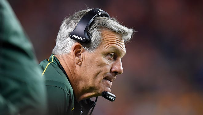 Green Bay Packers special teams coach Ron Zook watches from the sidelines during a 2015 game against the Denver Broncos at Sports Authority Field in Denver.