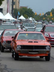 Vintage cars lined Woodward during the annual motor