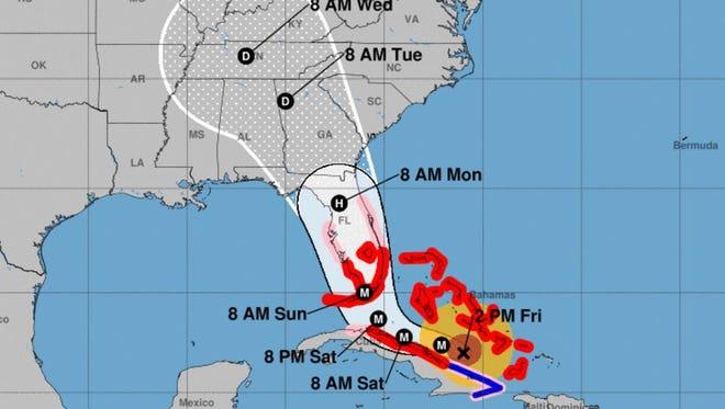 Forecast cone for Hurricane Irma as of 5 p.m. Friday, Sept.  8, 2017.