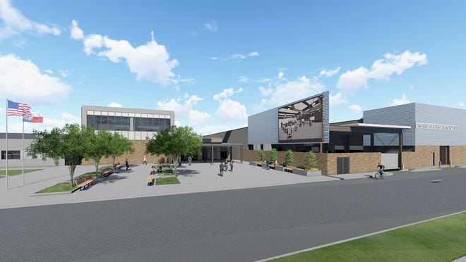 Rendering of the exterior of the Amarillo ISD career academy.