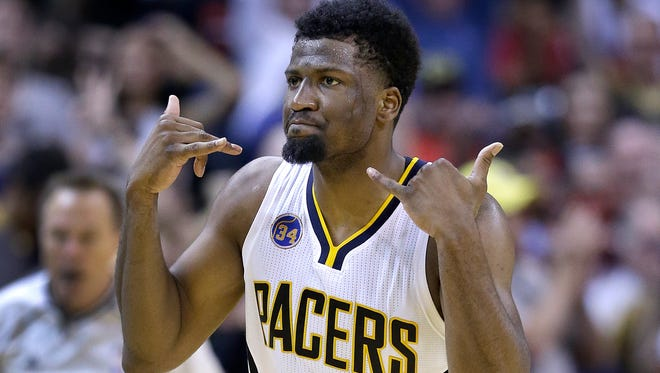 Indiana Pacers forward Solomon Hill (44) celebrates hitting a three-pointer in the second half of their Eastern Conference first round playoff game Saturday, April 23, 2016, afternoon at Bankers Life Fieldhouse. The Pacers defeated the Raptors100-83.