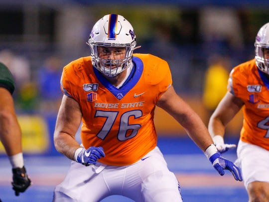 Boise State offensive lineman Ezra Cleveland could be a candidate to replace Bryan Bulaga.