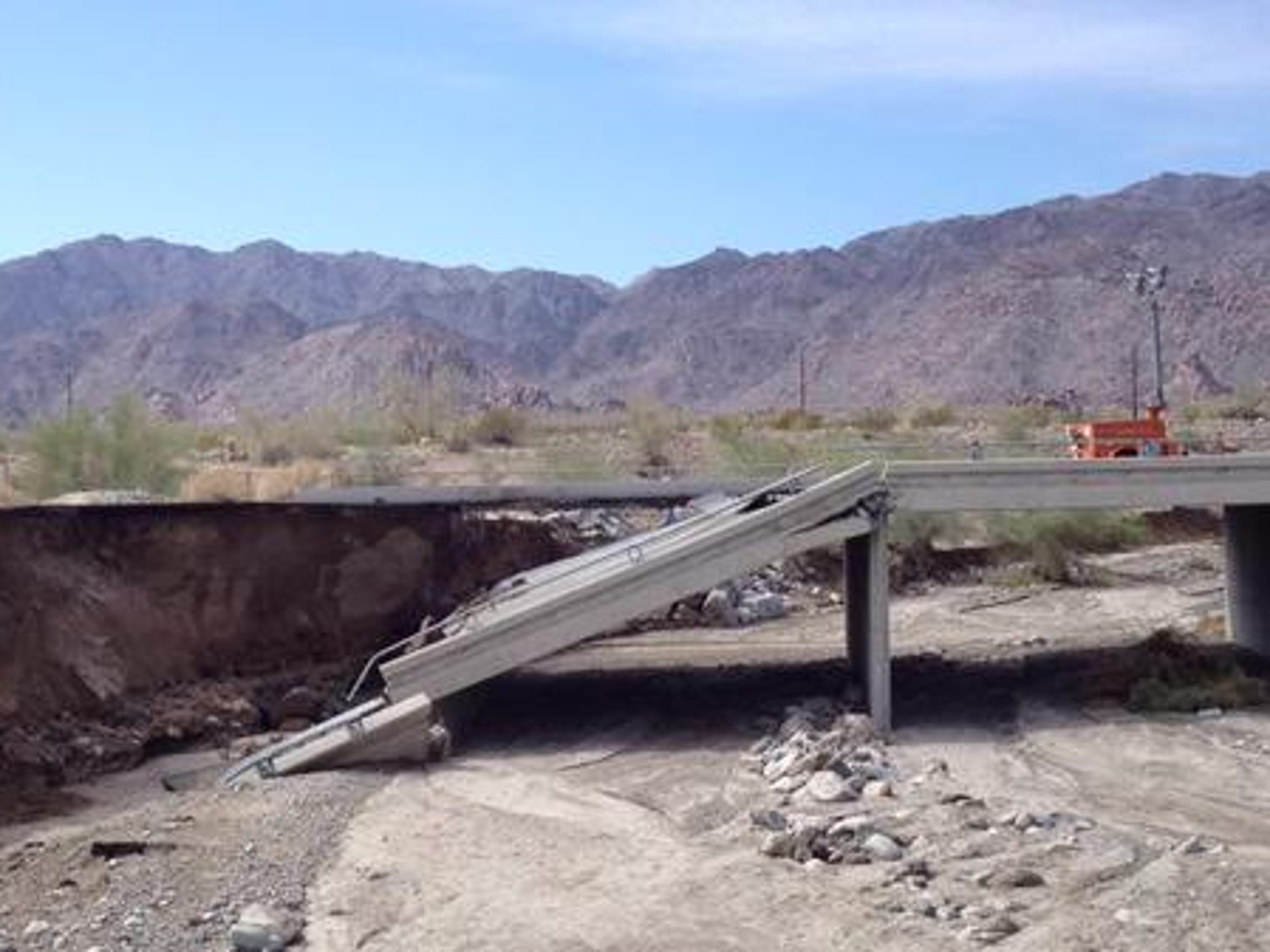 The Tex Wash Bridge on Interstate 10 near Desert Center collapsed during heavy rains on July 19.