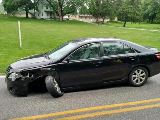 One of the vehicles involved in a crash in Manchester Township.