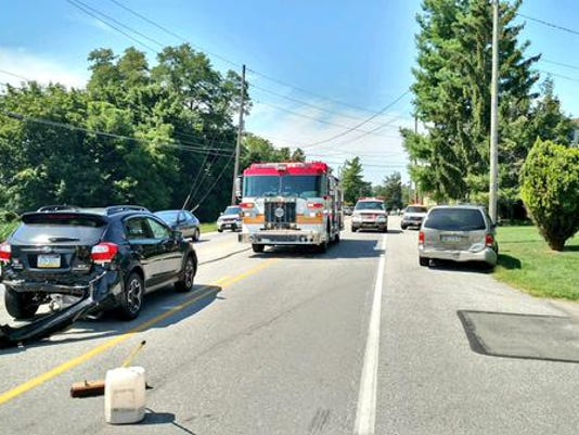 Crews responded to the scene of a three-car crash midday Saturday in Paradise Township.