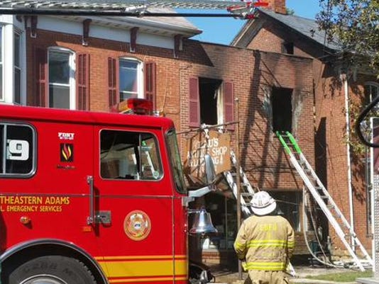 Pictured is an apartment that caught fire Monday afternoon in New Oxford.