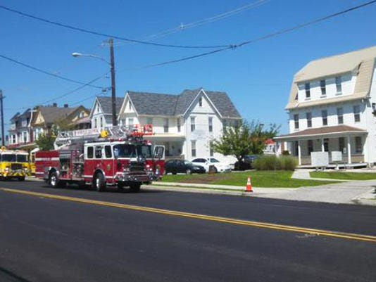 Fire crews respond to an alarm along West Market Street in West York, closing a couple of blocks of the street.