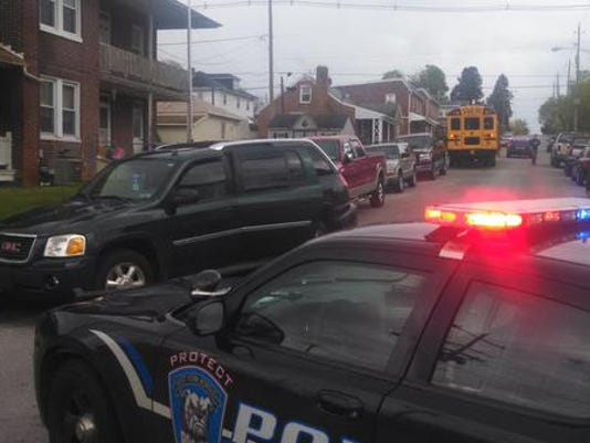 West York Borough Police respond to a non-injury school bus crash in April. (File photo)