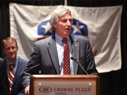 John Schoonmaker, center, addresses supporters at the Crowne Plaza Hotel on March 1, 2016, after winning an uncontested Republican primary race for the Knox County Commission 5th District seat.