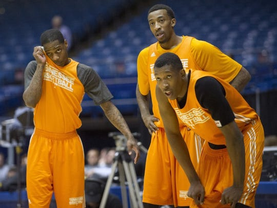 Tennessee guard Antonio Barton (2), Tennessee guard Jordan McRae (52), and Tennessee guard Josh Richardson (1), from left, catch their breath during an open practice before Tennessee's NCAA tournament first round game against Iowa at the University of Dayton Arena in Dayton, Ohio on Tuesday, March 18, 2014. (ADAM LAU/NEWS SENTINEL)