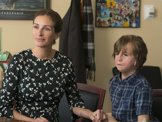 "Julia Roberts as Isabel and Jacob Tremblay as Auggie in ""Wonder."""