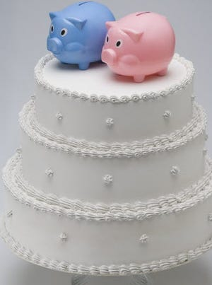 The average wedding cost in 2013 was $29,858, according to a survey from TheKnot.com.