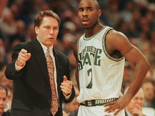 Tom Izzo talks to Mateen Cleaves during MSU's NCAA tournament game against Oklahoma in 1999. The Spartans went to three consecutive Final Fours beginning that season.