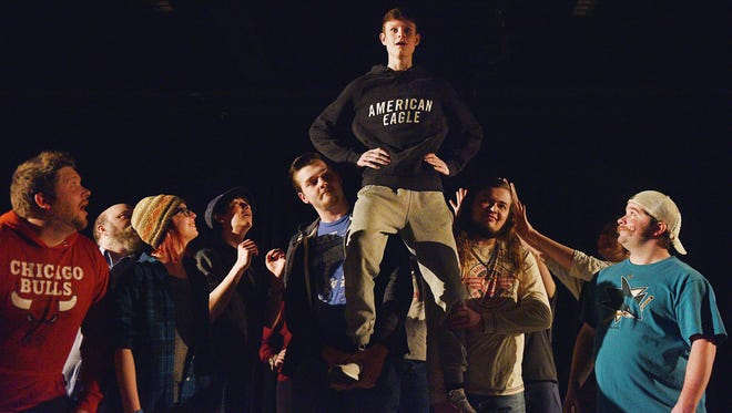 Ryan Johnson, as the boy who becomes Peter, rehearses one of the final scenes in ÔPeter and the StarcatcherÕ during the The Sioux Empire Community Theatre rehearsal Wednesday, April 4, at The Orpheum Theatre.