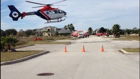 A trauma alert was issued for a victim who fell off a ladder off Sungazer Drive in Viera on Tuesday.