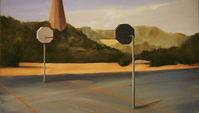 "Patricia Bertha-Mattingly received a blue ribbon for her oil painting, ""Basketball Court,"" in the Cedarburg Artists Guild's annual juried art exhibit."