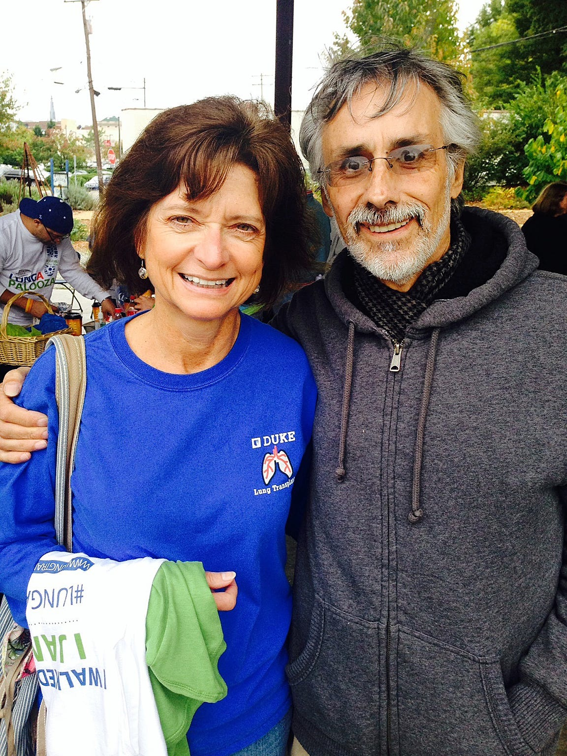 Rudy Caduff, here with hospital lung transplant administrator Cindy Lawrence one week after his transplant, where he walked a mile that day