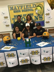 Mayfield softball player Olivia Domingues signed with