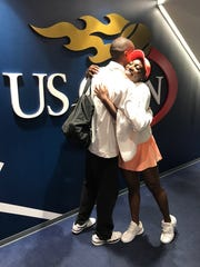 Sloane Stephens celebrates a win at the U.S. Open with