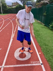 Copy photo of Sidney Gottlieb of Cliffside Park, at the New Jersey Senior Olympics taken on September 2017 in Woodbridge.   Sidney runs, does 100 situps every day, pushups,etc lifts weights. He considers himself a role model for other seniors to stay active.