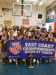 Members and coaches of the ICC Truth sixth-grade girls team after the 2018 AAU East Coast Championships in King of Prussia, Pa.